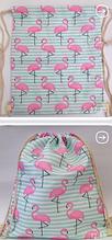 Жіночий пляжний рюкзак-сумка Рожевий Фламінго з тканини в морському стилі 34*42 см