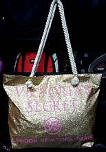 Женская летняя пляжная сумка с блестками золотая 37*30см