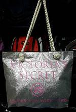 Женская летняя пляжная сумка с блестками серебристая 37*30см