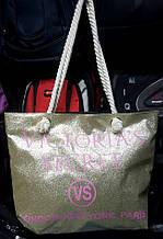 Жіноча літнє пляжна сумка з блискітками світле золото 37*30см