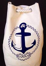 Пляжная летняя сумка-рюкзак с якорем 29*50 см (белый с синим)