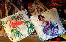 Жіноча літнє пляжна сумка з паєтками і малюнком 30*33