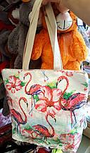 Женская летняя пляжная сумка с пайетками фламинго 30*33см