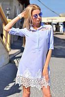 Стильне жіноче плаття сорочка в смужку з мереживом, фото 1