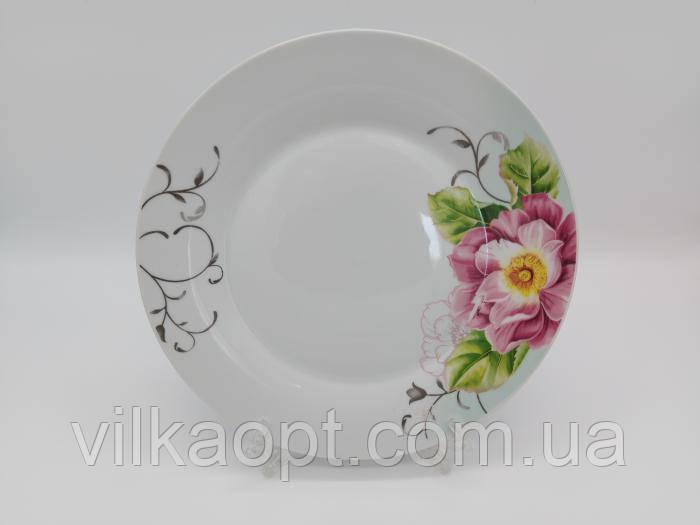 Блюдо керамическое белое с рисунком круглое большое Тарелка обеденная мелкая для вторых блюд Роза чайная 27cm