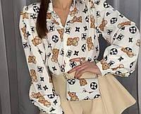 Женская стильная блузка с V-образным декольте, фото 1