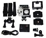 Спортивная экшн камера Action Camera A7 для туризма и развлечений большой комплект креплений, фото 8