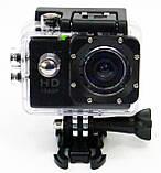 Туристическая Экшн камера Action Camera D600 Full HD для подводной съемки большой комплект креплений, фото 2