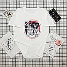 Біла жіноча футболка з мопсами, фото 2