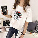Біла жіноча футболка з мопсами, фото 3