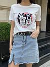 Біла жіноча футболка з мопсами, фото 6