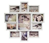 Фоторамка коллаж на 11 фото белая семейная