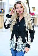 Жіноча стильна сорочка з мереживом, фото 1