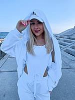 Женский стильный спортивный костюм тройка: боди, брюки и худи с капюшоном, фото 1