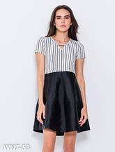 Сукня з фактурного чорно-білого смугастого трикотажу і однотонної чорної спідниці S