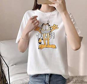 Белая женская футболка Funny с котом