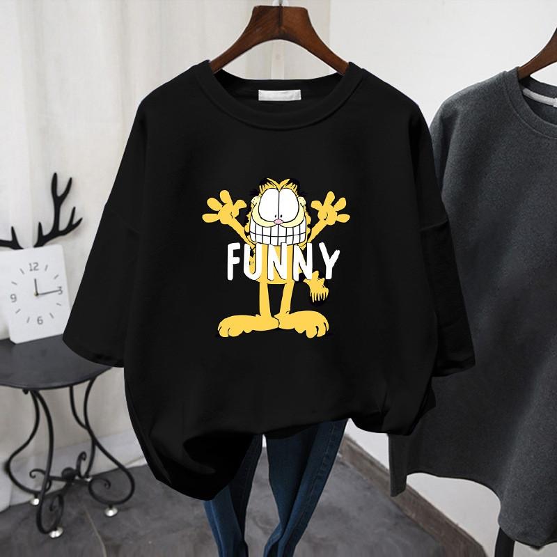 Чорна жіноча футболка Funny з котом