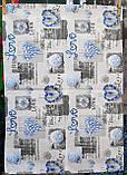 Пододеяльник из бязи Голд евроразмер Синие сердечки, фото 5