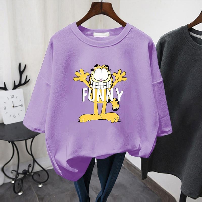 Фиолетовая женская футболка Funny с котом