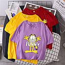 Жіноча футболка Funny з котом фіолетова, фото 2