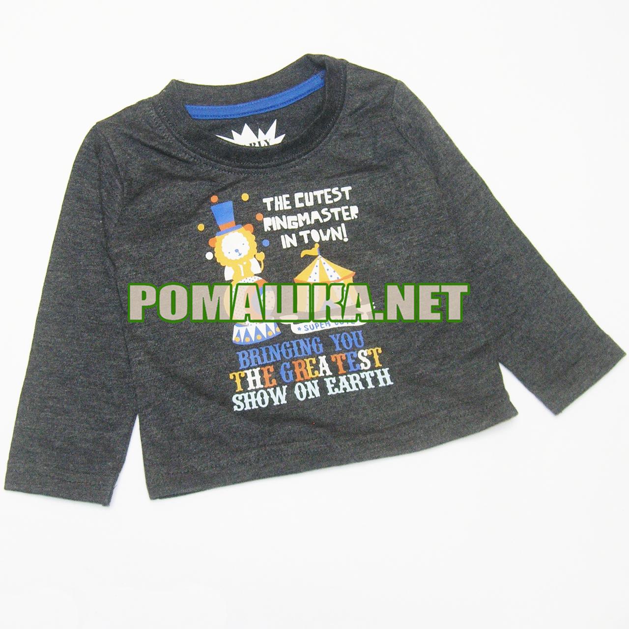 Дитячий реглан (джепмер, футболка з довгим рукавом) р. 68 для хлопчика 3941 Сірий