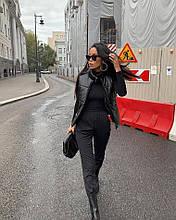 Женская жилетка из эко-кожи черная SKL11-290234