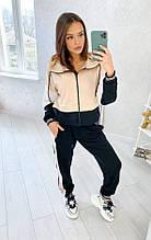 Спортивный костюм женский двунитка мокко черный SKL11-289933