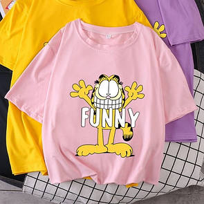 Розовая женская футболка Funny с котом