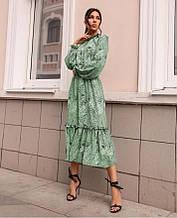 Платье с резинкой на горловине и на манжетах оливковое SKL11-290776