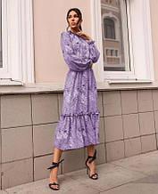 Платье с резинкой на горловине и на манжетах цвет лаванда SKL11-290778
