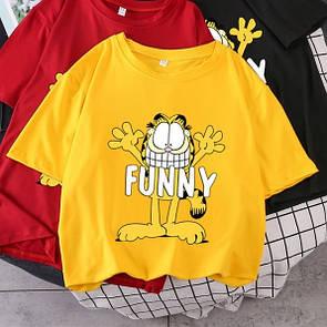 Желтая женская футболка Funny с котом