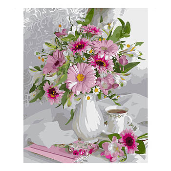 Картина по номерам Strateg Букет с розовых герберов, 40х50 см