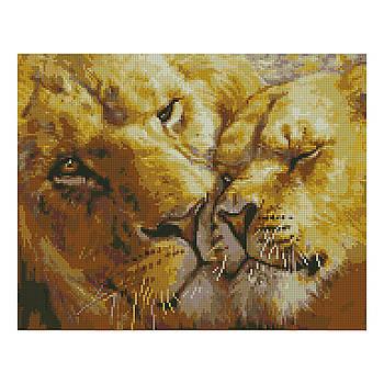 Алмазная мозаика Strateg «Львиная нежность», 40х50 см