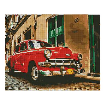 Алмазная мозаика Strateg «Красный ретро-автомобиль», 40х50 см