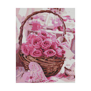 Алмазная мозаика Strateg «Корзина розовых роз», 40х50 см