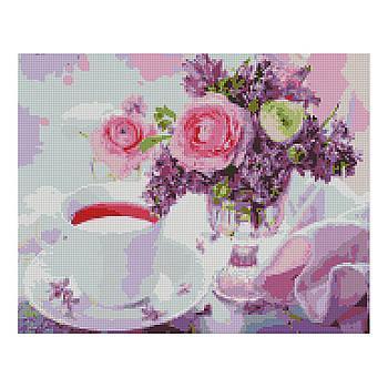 Алмазная мозаика Strateg «Букетик и чашечка чая», 40х50 см