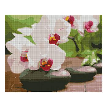 Алмазная мозаика Strateg «Орхидея на камушках», 40х50 см