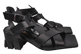 Босоножки женские на каблуке из натуральной кожи, черные Lottini Турция