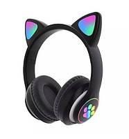 Беспроводные детские наушники с кошачьими ушками и подсветкой Cat Ear черные
