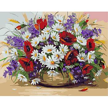Картина по номерам Strateg Букет полевых цветов, 40х50 см