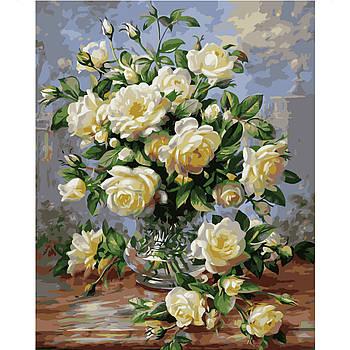 Картина по номерам Strateg Маленькие белые розы, 40х50 см