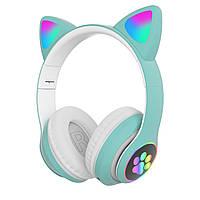 Беспроводные детские наушники с кошачьими ушками и подсветкой Cat Ear бирюзовые