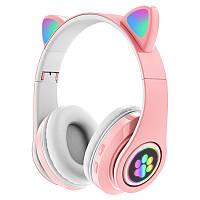 Беспроводные детские наушники с кошачьими ушками и подсветкой Cat Ear розовые