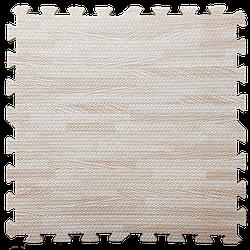 Мат татамі пазл ЕВА модульне покриття на підлогу EVA ластівчин хвіст складаний килимок 60х60х1 см світле дерево