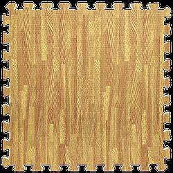 Мат татамі пазл ЕВА модульне покриття на підлогу EVA ластівчин хвіст складаний килимок 60х60х1 см золоте дерево
