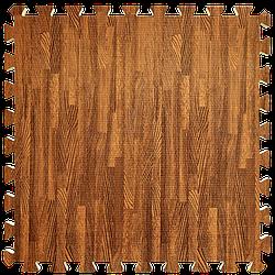 Мат татамі пазл ЕВА модульне покриття на підлогу EVA ластівчин хвіст складаний килимок 60х60х1 см червоне дерево