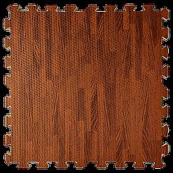 Мат татамі пазл ЕВА модульне покриття на підлогу EVA ластівчин хвіст складаний килимок 60х60х1 см темне дерево