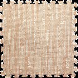 Мат татамі пазл ЕВА модульне покриття на підлогу EVA ластівчин хвіст складаний килимок 60х60х1 см рожеве дерево