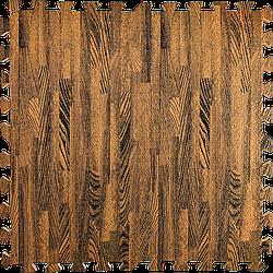 Мат татамі пазл ЕВА модульне покриття на підлогу EVA ластівчин хвіст складаний килимок 60х60х1 см коричневе