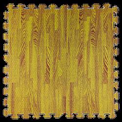 Мат татамі пазл ЕВА модульне покриття на підлогу EVA ластівчин хвіст складаний килимок 60х60х1 см жовте дерево
